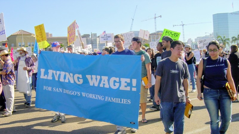 San Diego Residents March for a Living Wage for Working Families Downtown