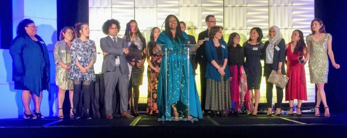 CPI Staff at the CPI 20 Year Gala. (left to right: Andrea Slater, Jessica Cordova, Kimberly Uy, Marco Briones, Jennifer Addison-Epps (Co-Executive Director CPD), Anjleena Kour Sahni, Jeremy Addis-Mills, Kyra Greene, Ph'd, Peter Brownell Ph'd, Susan Duerksen, Quynh Nguyen, Emily Howe, Sarah Farouq, Trinh Le, Ashley Rodriguez