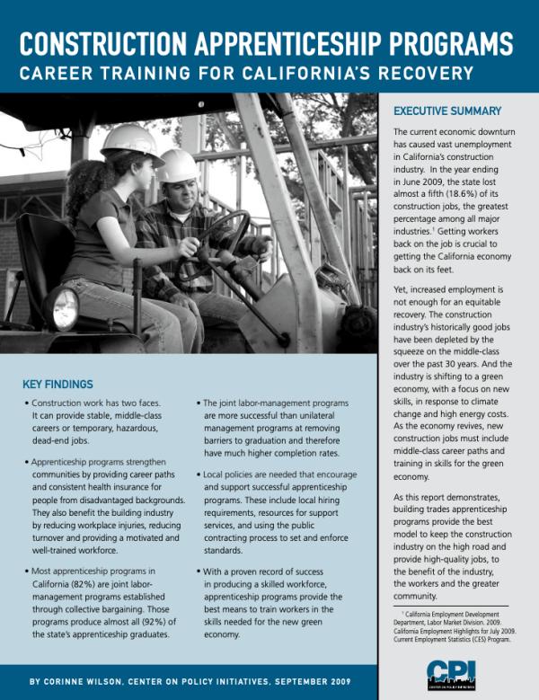 Construction Apprenticeship Programs (2009)