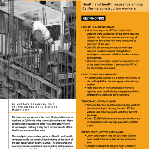 Construction: Working Without a Healthcare Net (2009)