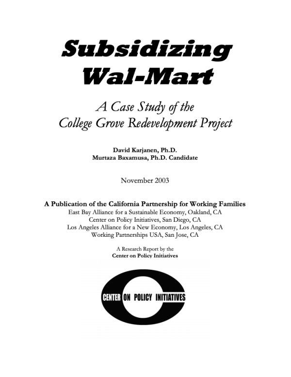 Subsidizing Walmart (2003)