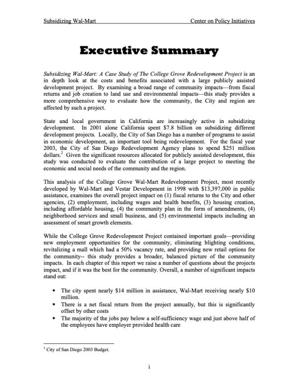 Summary: Subsidizing Walmart (2003)