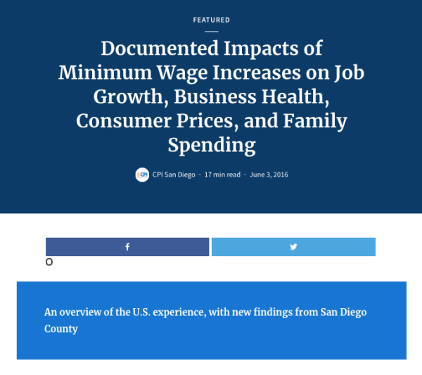 Web report: Minimum Wage Impacts (2016)