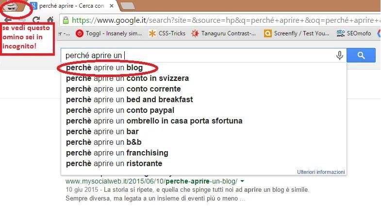 Usare Google Suggest con Chrome, in modalità incognita