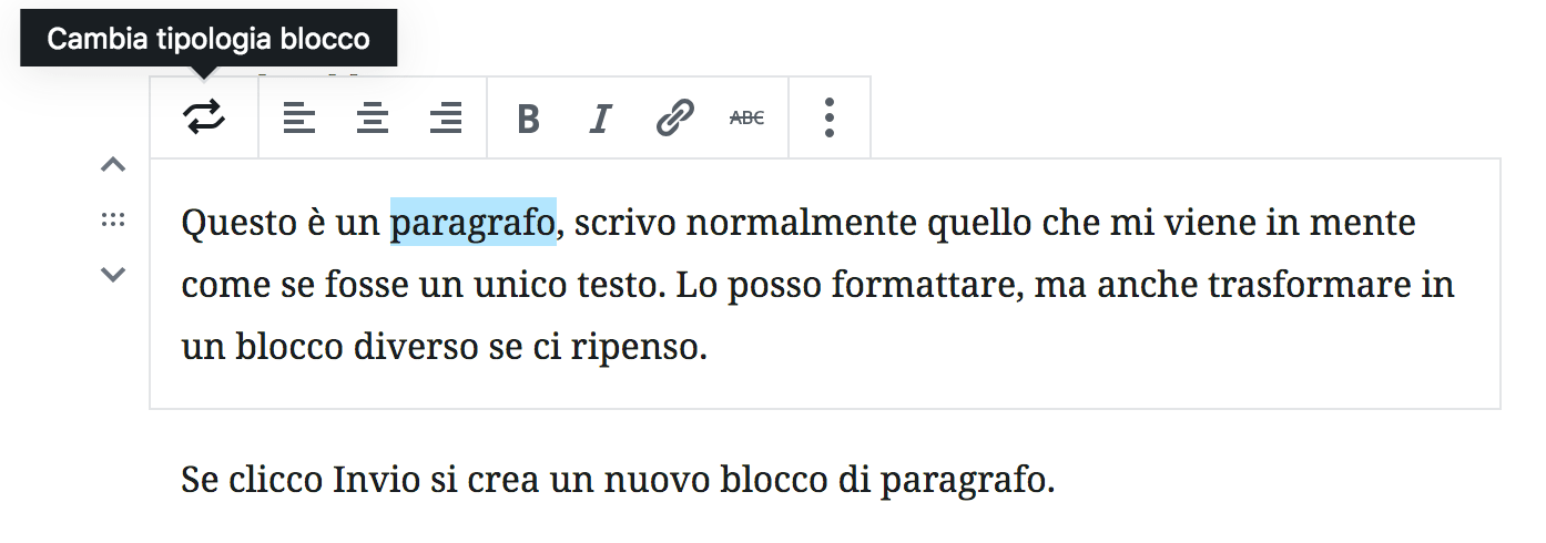 Formattazione testo in Gutenberg