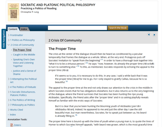 Digital Page from Socratic and Platonic Political Philosophy
