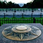 Compass with directions in the foreground with a distant and unfocused image of the White House in the distance.