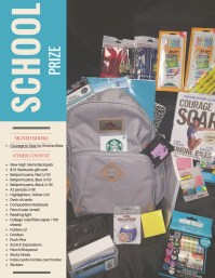 Contents • Courage to Soar signed by Simone Biles • New High Sierra Backpack • $10 Starbucks gift card • Ballpoint pens, Red (x10) • Ballpoint pens, Blue (x10) • Ballpoint pens, Black (x10) • #2 pencils (x16) • Highlighters, Yellow (x3) • Deck of cards • Composition Notebook • Pencil case (small) • Reading light • College ruled filler paper (150 sheets) • Folders x2 • Dividers • Push Pins • Scotch Expressions • Pencil Sharpener • Sticky Notes • Index cards & Index card holder • Stickers