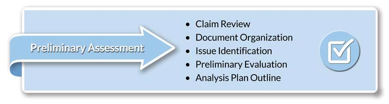 Preliminary Assessment • Claim Review • Document Organization • Issue Identification • Preliminary Evaluation • Outline Analysis Plan