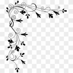 Lace Flower Clipart Transparent Flower Black And White Border Png Download #366381 PikPng