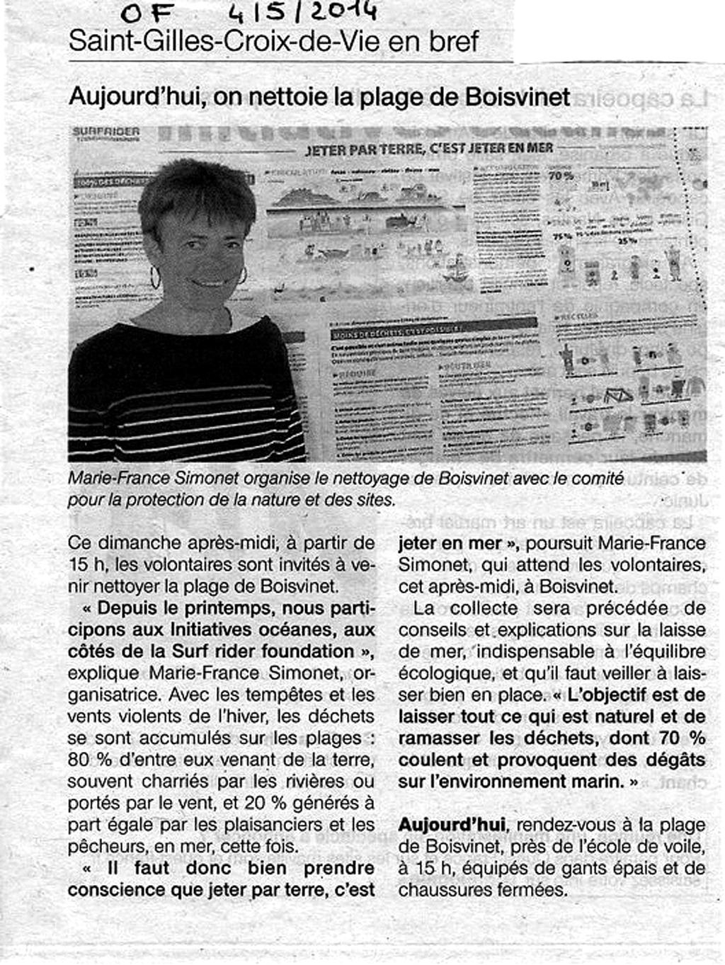 Ouest France du 4 mai 2014