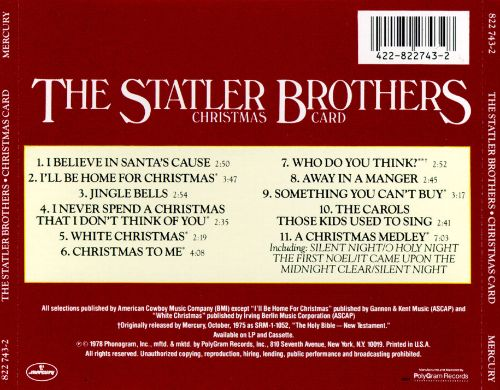 Christmas Card The Statler Brothers Songs Reviews