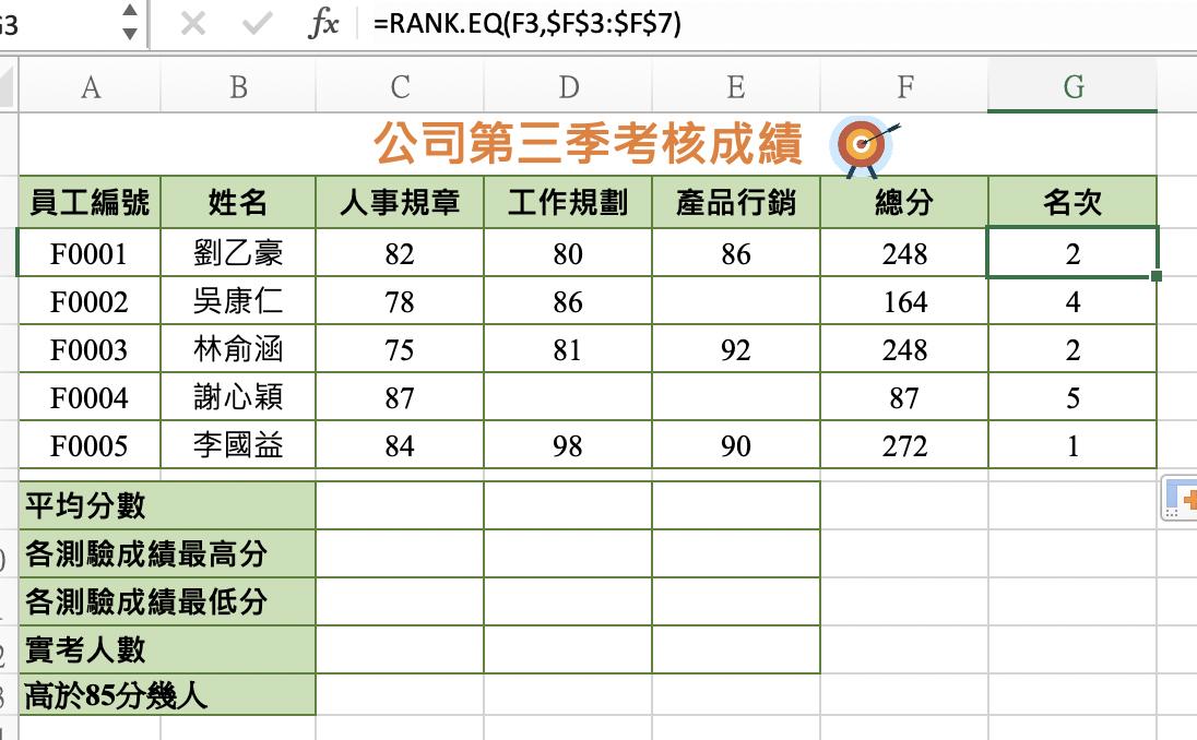 佩珊老師電腦軟體應用-EXCEL電子試算表教學3-函數3count、rank、相對位址及絕對位址