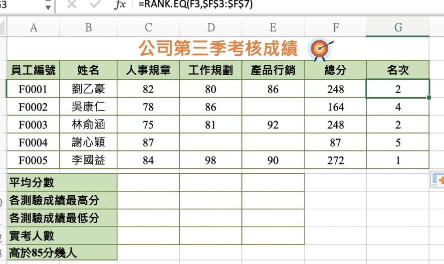 電腦軟體應用-EXCEL電子試算表教學3-函數(3)count、countif、rank.EQ、相對位址及絕對位址