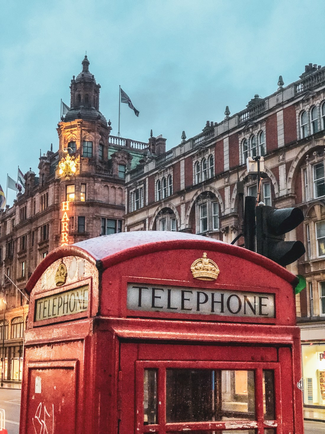 Famous red phone booth in London near Harrods