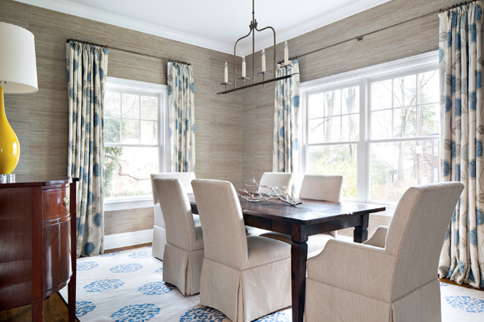 Extend the curtains rod past the window to let more light in | Dining room by Clean Design image via House of Turquoise