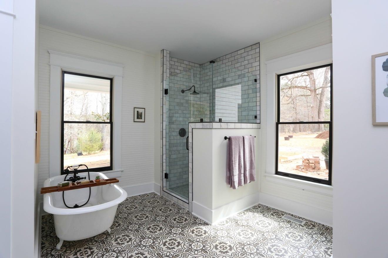 Restored Farmhouse Master Bathroom Remodel in Durham