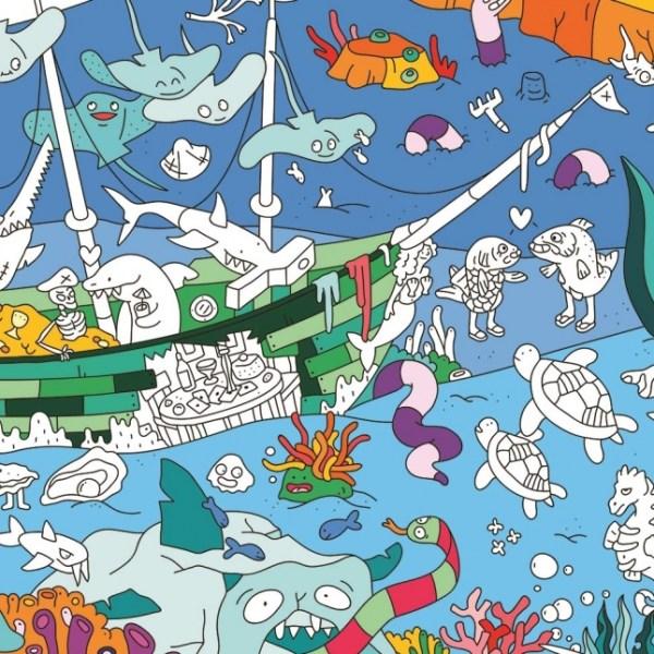 Poster géant à colorier Océan
