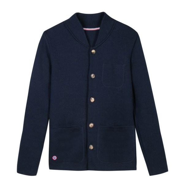 Eloi, La veste mixte en maille bleu marine