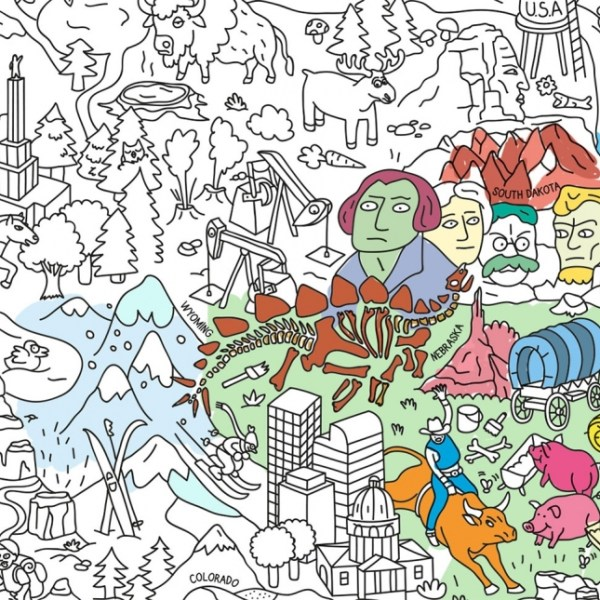 Poster géant à colorier USA