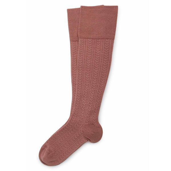 Chaussettes hautes énergisantes Lévity en maille ajourée et fil d'Ecosse – Bois de Rose