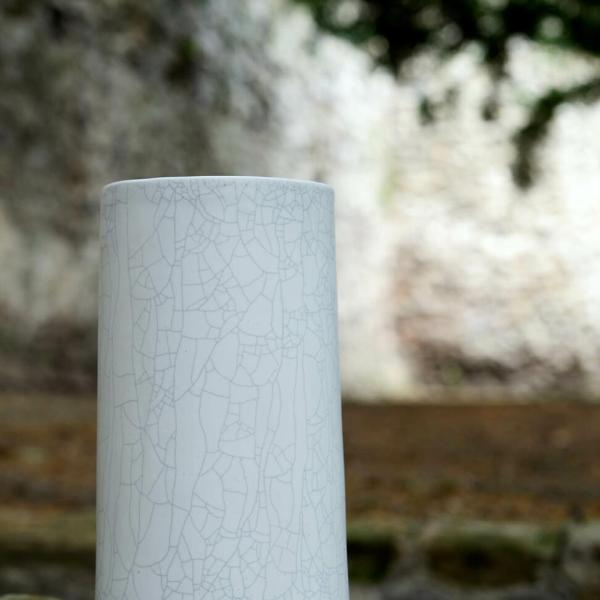 Vase à anse Blanc craquelé