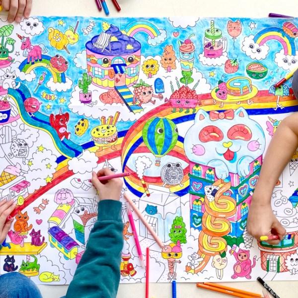Poster géant à colorier Kawaïï