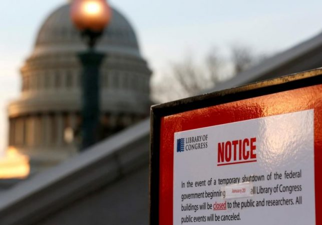 Sign outside of Library of Congress detailing the effects of the government shutdown.