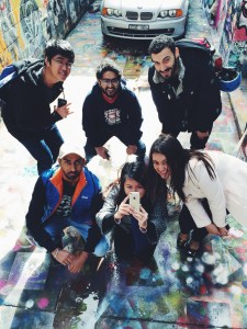 Group of CQUniversity students with street art