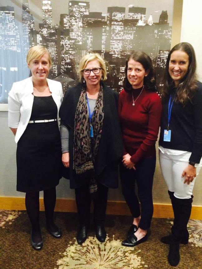 Renee White (Left) with Rosie Batty and Global Voices Delegates (Right)