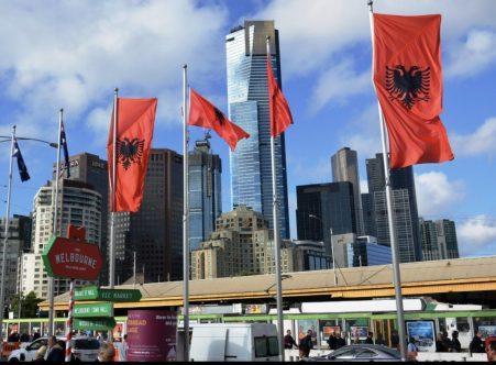 Albanian flag Federation Square, Sara Manka CQUniversity Melbourne