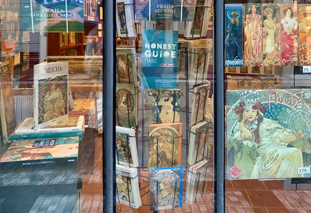 Bookshop in Prague with Mucha merchandise