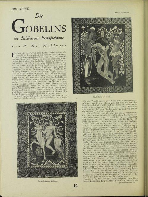 Kai (Kajetan) Mühlmann, 'Die Gobelins im Salzburger Festspielhaus', Die Bühne 95 (1926), p. 12.