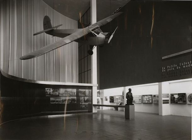 View of the exhibition space in the Czechoslovak pavilion, Brussels International Exposition, 1935