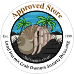 Official logo for Land Hermit Crab Owners Society Approved Stores and Sellers