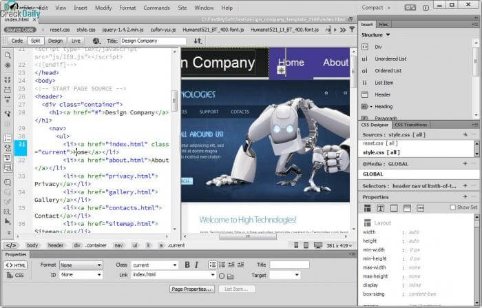 Adobe Dreamweaver Screenshot