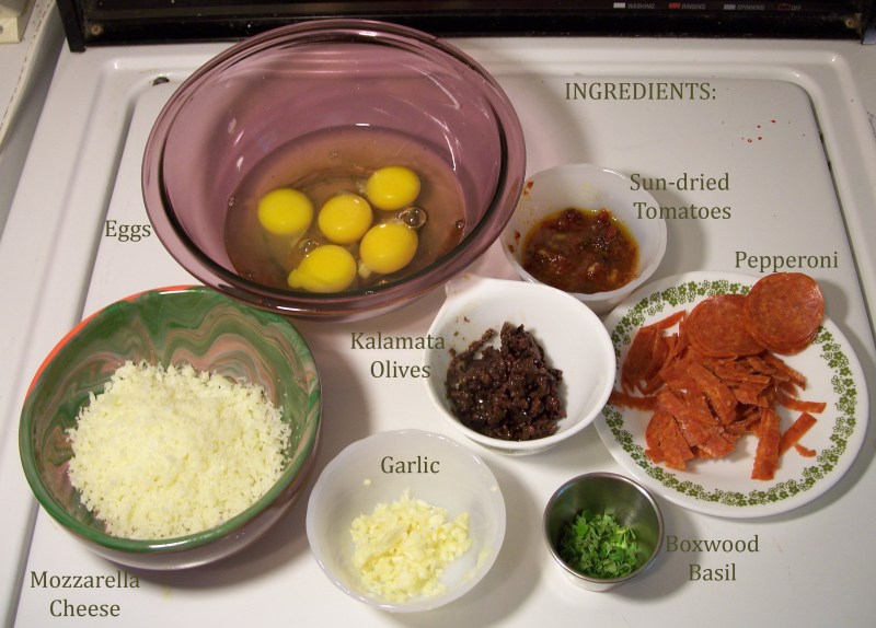 Image of ingredients for Pizza Omelet
