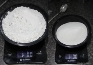 Weigh the flour and sugar