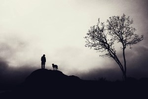 Silhouette on man and dog
