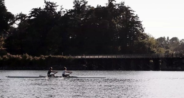 rowing hard
