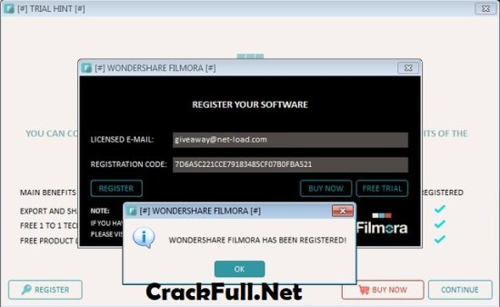 Wondershare Filmora Registration Key and Email
