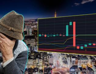 japanese man hand on forehead upset with chart picture next to him with bad red candle