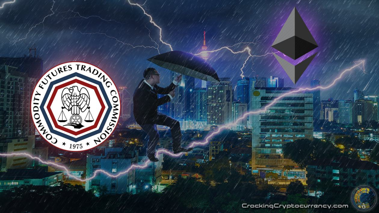 cftc-logo-and-ethereum-logo-over-dramatic-stock-chart-bullish-lightning-beam-with-man-with-umbrella-fighting-riding-the-lightning-bolt