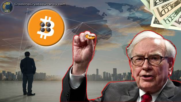 warren-buffet-holding-bitcoin-logo-like-a-shirt-button-next-too-money-fanned-out-and-big-bitcoin-logo-with-holes-like-a-button-with-world-map-network-lines-background-2