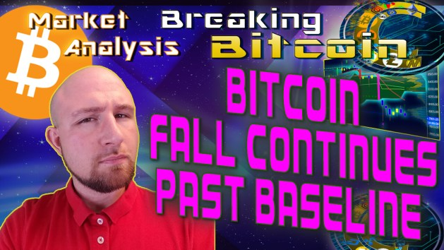 text bitcoin fall continues past baseline next to justins crinckle questioning face with cool aurora star sky graphic background and bitcoin logo