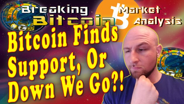 text bitcoin finds support, or down we go?! next to just thinking with hand on chin face and material overlay on star graphic background with bitcoin logo and cracking cryptocurrency breaking bitcoin show title and logo at top