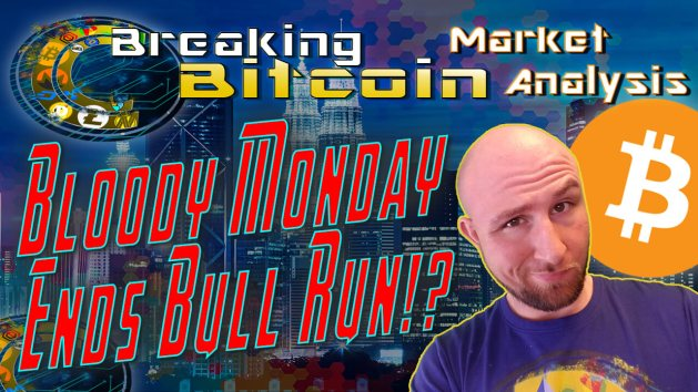 text bloody Monday ends bull run? next to justin's smug 'yea ok' face with skyline graphic background and bitcoin logo