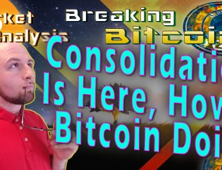 text consolidation is here, how's bitcoin doin? next to justin looking into distance thinking with glasses to lip with background graphic of single tree in middle of landscape with material transparent overlay and bitcoin logo with show title at top