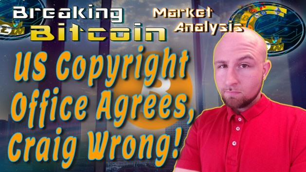 text us copyright office agres! Craig Wrong! next to Justin's face with graphic background and show title at the top and bitcoin logo in the middle background