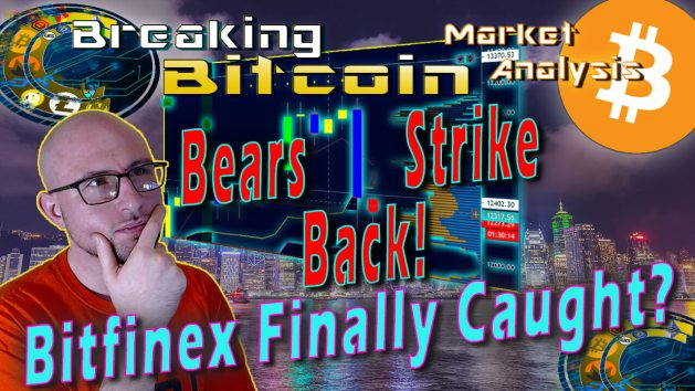 text bears strike back! bitfinex finally caught! next to jay with hand onf ace thinking with graphic background and bitcoin logo